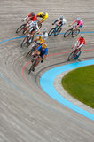 Hang-sling around the Curve. Blaine, MN - June 8: Men's Velodrome Cycling: 20 K Points/Madison race on June 8, 2008 - space to front stock photos