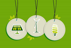 Hang tag green energy icon set. Royalty Free Stock Image