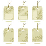 Hang tags design elements. Elements to design hang tags, price tags, gift tags, etc., with floral pattern backgrounds Royalty Free Stock Photo