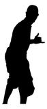 Hang Ten. A silhouette of a man giving the hang ten or hang loose hand gesture stock illustration
