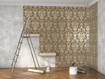 Hang wallpaper; 3d illustration. Repair of the room with building materials; 3d illustration Stock Photo