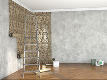 Hang wallpaper; 3d illustration. Repair of the room with building materials; 3d illustration Royalty Free Stock Photo