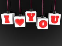 Hang on white cubes with concept I love you. In background royalty free illustration