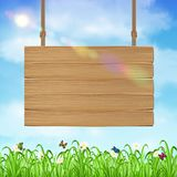 Hang wood board sign with grass and sky background. A hang wood board sign with grass and sky background Stock Images