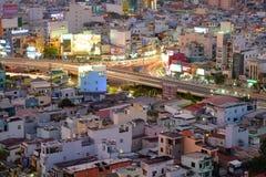 Hang Xanh genomskärningsflygparad i skymning, Ho Chi Minh stad, Vietnam royaltyfria foton