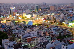 Hang Xanh intersection flyover in twilight, Ho Chi Minh city, Vietnam Royalty Free Stock Photography