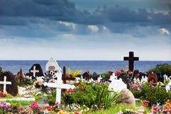 Hanga的Roa,复活节岛坟园 免版税库存图片