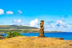 Hanga Kio e Ahu Akapu i den Rapa Nui nationalparken Arkivfoto