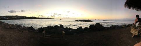 Hanga Roa solnedgång arkivfoto