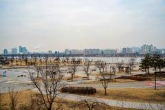 Hangang rzeki park na chmurnym dniu w zimie zdjęcie stock