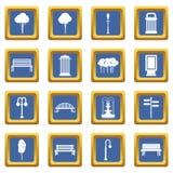 Hangar icons set blue Royalty Free Stock Images