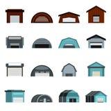 Hangar icons set, flat style Royalty Free Stock Image