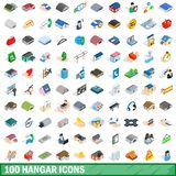 100 hangar icons set, isometric 3d style. 100 hangar icons set in isometric 3d style for any design illustration royalty free illustration