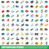 100 hangar icons set, isometric 3d style. 100 hangar icons set in isometric 3d style for any design vector illustration Stock Photography