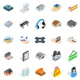 Hangar icons set, isometric style. Hangar icons set. Isometric set of 25 hangar vector icons for web isolated on white background Stock Image