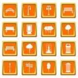 Hangar icons set orange Royalty Free Stock Images
