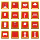 Hangar icons set red Stock Photos