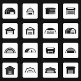 Hangar icons set in simple style Stock Photos