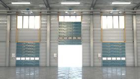 Hangar interior con las puertas fotografía de archivo libre de regalías