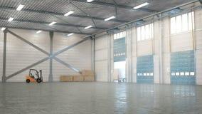 Hangar interior con las puertas imagen de archivo