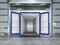 Hangar interior with open container. 3d illustration vector illustration