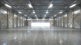 Free Hangar Interior With Opened Gate Royalty Free Stock Photos - 133558838