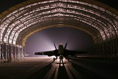 Hangar, Jet, Aircraft, Fighter Royalty Free Stock Photography