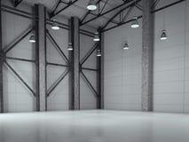 Hangar moderno do sótão da fábrica rendição 3d Imagem de Stock Royalty Free