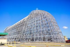 Hangar One after the exterior panels were removed, a historical landmark in San Francisco bay royalty free stock image