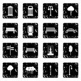Hangar set icons, grunge style Royalty Free Stock Images