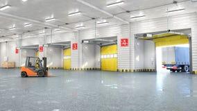 Hangar som är inre med portar royaltyfria bilder