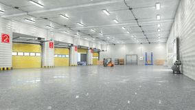 Hangar som är inre med portar royaltyfria foton