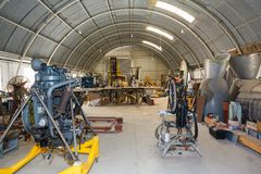 Hangar workshop to the aircraft engine and parts Royalty Free Stock Image