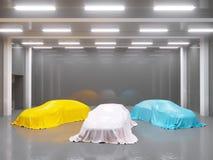 Hangar z fotografii studiiem i zakrywający z sukiennym samochodem 3d rendering, ilustracyjny seans, jedwab, gładki, studio royalty ilustracja