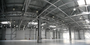 hangarpanoramalager Royaltyfri Foto