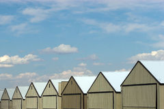 Hangars. 7 steel buildings used for storage of aircraft mostly. They are also used for storing other large vehicles and fleets stock photography