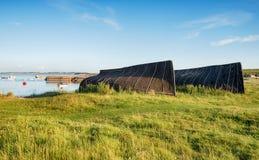Hangars de bateau chez Lindisfarne Photographie stock libre de droits
