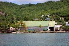 Hangars de sable dans les Caraïbe Images libres de droits