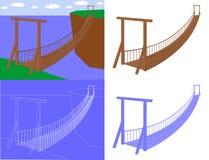 Hangbrug in de vector van de perspectiefmening Royalty-vrije Stock Foto's