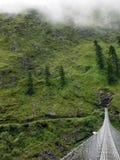 Hangbrug in Groen Himalayagebergte tijdens Moesson royalty-vrije stock foto's