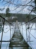 Hangbrug over de rivier in de beken van natuurreservaatolenyi in het gebied van Sverdlovsk royalty-vrije stock foto's