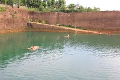 Hangdong canyon chiangmai. Resevoir from old excavation laterite soil for sale. CHIANG MAI, THAILAND -SEPTEMBER 9 2015: Hangdong canyon chiangmai. Resevoir from royalty free stock photos