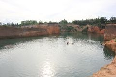 Hangdong canyon chiangmai. Resevoir from old excavation laterite soil for sale. CHIANG MAI, THAILAND -SEPTEMBER 9 2015: Hangdong canyon chiangmai. Resevoir from stock images