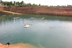 Hangdong canyon chiangmai. Resevoir from old excavation laterite soil for sale. CHIANG MAI, THAILAND -SEPTEMBER 9 2015: Hangdong canyon chiangmai. Resevoir from stock photos