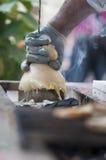 Hanged asó a la parrilla el queso Imagen de archivo