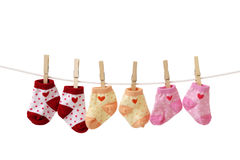 Hanged baby socks Stock Images