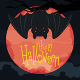 Hanged Bat Poster with Red Moon, Vector Illustration Royalty Free Stock Image