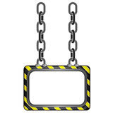 Hanged black yellow striped chain board  template Royalty Free Stock Images