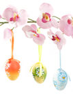 Hanged bright color easter eggs with bows on spring flower Stock Image