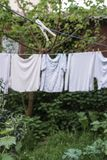 Hanged clothes at garden. In order to dry Stock Photo